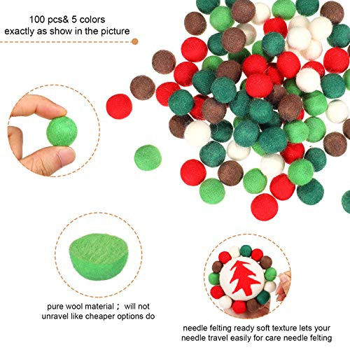 100 Pieces Wool Felt Balls Independence Day Valentines Day