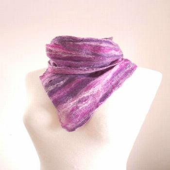 Felt scarf Felted scarf Felted wool scarf 'Soft Heather' Long slim scarf Gifts for her Purple Scarf