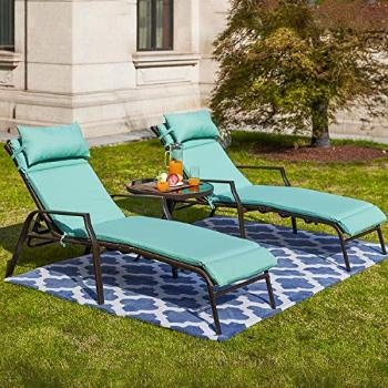 Festival Depot 3 Pieces Outdoor Patio Chaise Lounge
