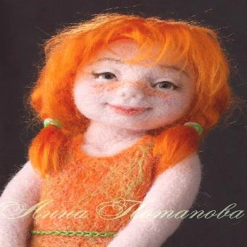 Ginger  The doll is needle felted (or dry felted) with no armature. It is made fully out of wool. T
