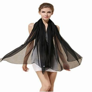 Grace Scarves 100% Silk Scarf, Oblong, Chiffon, Solid Color,