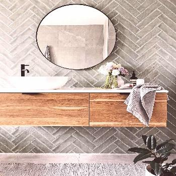 """Highgrove Bathrooms on Instagram: """"Loving this herringbone tile feature wall teamed with the Eden"""