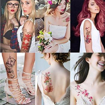 Kotbs 6 Sheets Large Temporary Tattoos Flower Paper Sexy