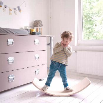 Wobbel Balance-Board original made of beech wood, transparent lacquered with felt in mouse gray Wob
