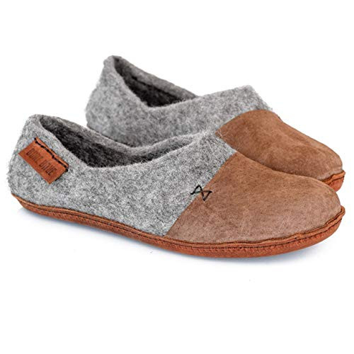 BureBure Womens Felted Wool Clogs with Natural Edge Suede