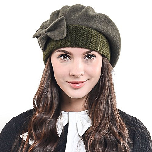FampN STORY Lady French Beret Wool Beret Chic Beanie Winter