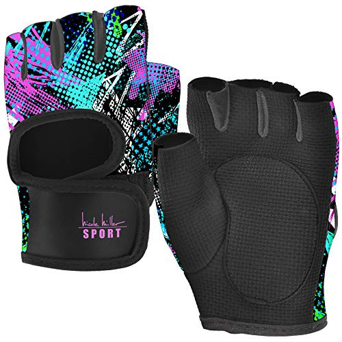 Nicole Miller Weight Lifting Workout Gloves, Wrist Wrap